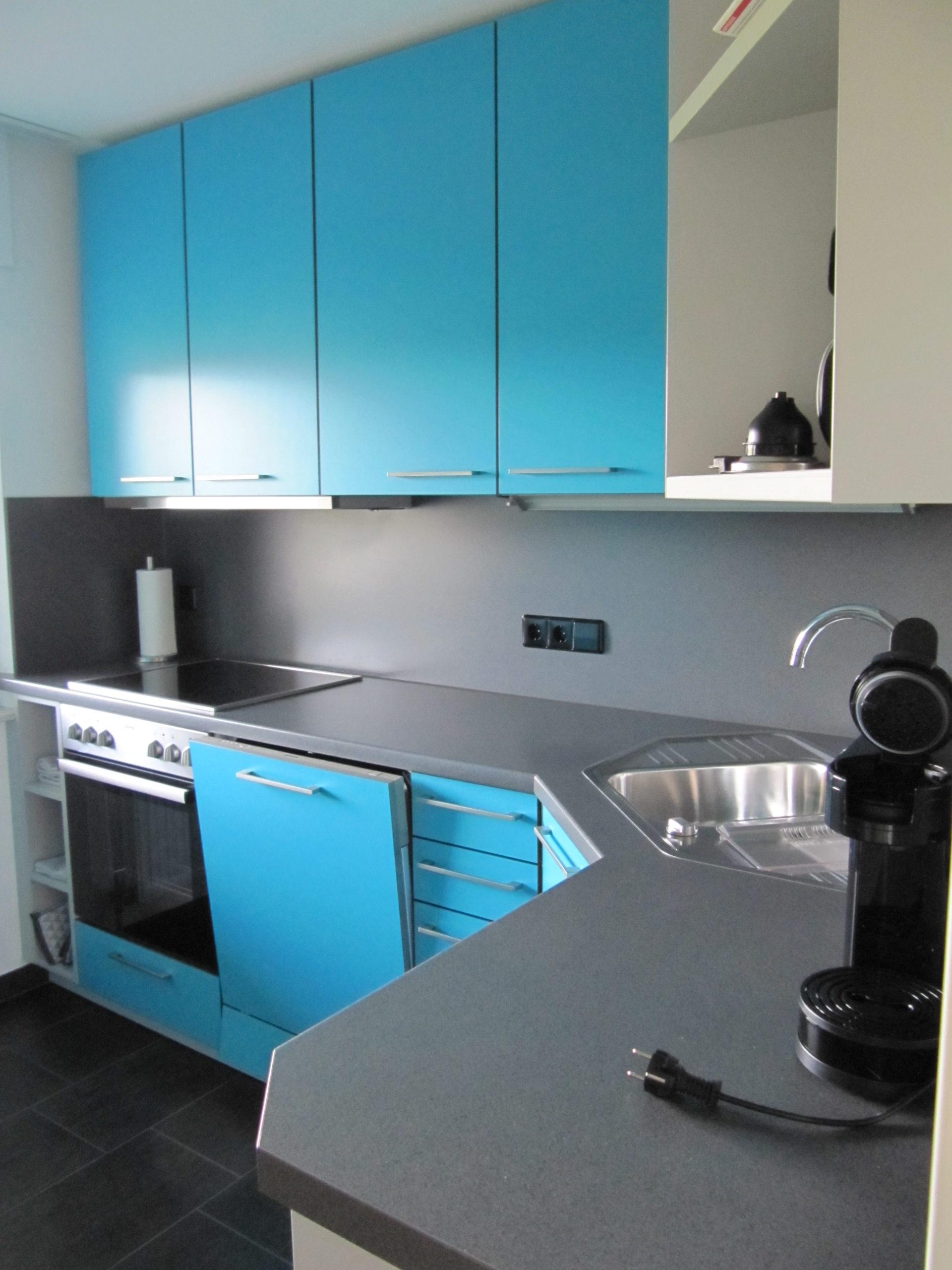 Einbauküche in Blau mit Herd und Spülmaschine